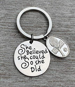 Tennis Keychain, Custom She Believed She Could so She Did Tennis Gif - Infinity Collection