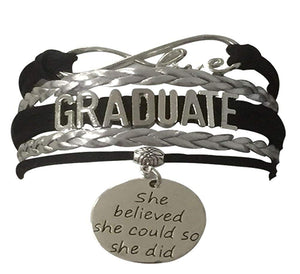 Infinity Collection Graduation Jewelry, Class of 2018 Graduate Bracelet- Perfect Graduation Gift- (10 Colors)