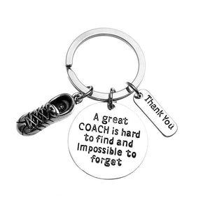 Infinity Collection Running Coach Keychain, Track Coach Gifts, Great Coach is Hard to Find Coach Keychain