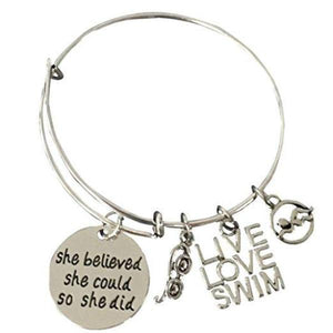 Girls Swim She Believed She Could So She Did Bracelet - Infinity Collection