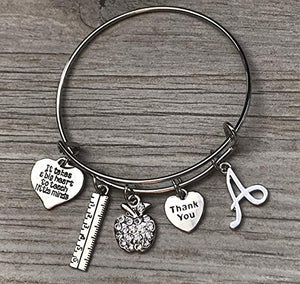 Personalized Teacher Charm Bangle Bracelet - Infinity Collection