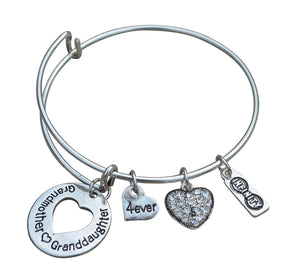 Grandma Bangle Bracelet -Grandma Charm Bracelet, Love Between Grandmother And Granddaughter Bracelet for Grandmas - Infinity Collection