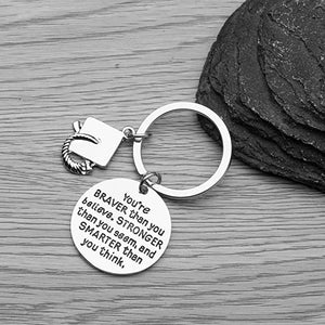 Graduation Keychain, Inspirational You're Braver Than You Believe, Stronger Than You Seem & Smarter You Think Jewelry - Infinity Collection