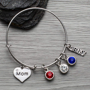 Army Mom Charm Bangle Bracelet - Infinity Collection
