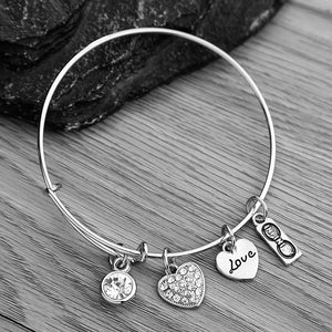 Birthstone Bracelet, Birthstone Jewelry, Birthstone Charm Bracelets, Birthstone Bangle Bracelet, for Women - Infinity Collection