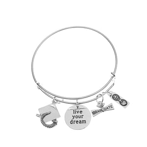 Graduation Bangle Bracelet - Live Your Dreams - Infinity Collection