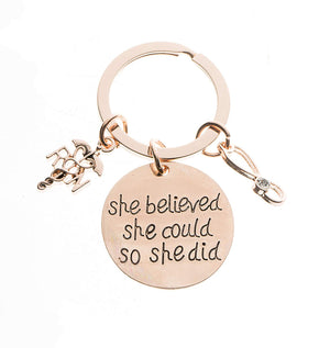 Nurse Keychain, Rose Gold She Believed She Could - Infinity Collection