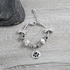 Dog Charm Bracelet - Paw Print Jewelry- Dog Lovers Bracelet- Dog Owner Bracelet -Perfect Gift for Dog Lovers - Infinity Collection