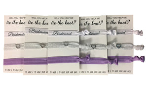 Bridesmaid Hair Ties, Bridesmaid Proposal Gifts-5 Pack Purple Ribbon Hair Ties No Crease Elastics Handtied Ouchless Ponytail Holders Hair Band Favors for Bachelorette Parties, Bridal Shower & More - Infinity Collection