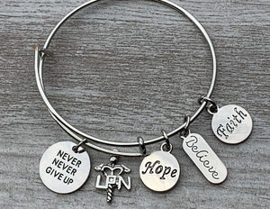 LPN Charm Bangle Bracelet, Never Give Up, Hope, Believe, Faith Bracelet - Infinity Collection