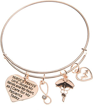 Nurse Prayer Bangle Bracelet - Rose Gold - Infinity Collection