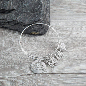 Family Tree Bracelet, Family Where Life Begins And Love Never Ends - Infinity Collection