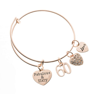 60th Birthday Rose Gold Charm Bracelet, Fabulous and Sixty Jewelry - Infinity Collection