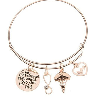 Nurse Bracelet She Believed She Could So She Did Bangle - Rose Gold - Infinity Collection