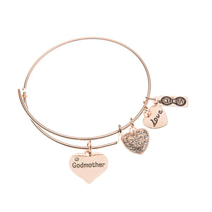 Godmother Bangle Bracelet- Godmother Gift- Rose Gold Godmother Jewelry- Perfect Gift from Godchild