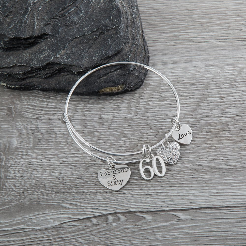 60th Birthday Gifts For Women Charm Bracelet Adjustable Bangle Perfect