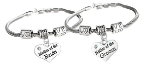 Mother of the Bride & Mother of the Groom Gift Set - Mother of the Bride Bracelet & Mother of the Groom Charm Bracelets Makes the Perfect Wedding Party Gifts - Infinity Collection