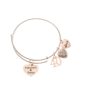 40th Birthday Gifts for Women, 40th Birthday Rose Gold Expandable Charm Bracelet, 40th Birthday Ideas, Gift for Her - Infinity Collection