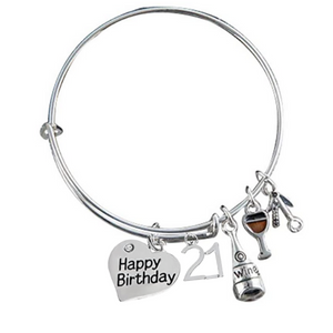21st Birthday Bracelet, Wine Birthday Expandable Charm Bracelet - Infinity Collection