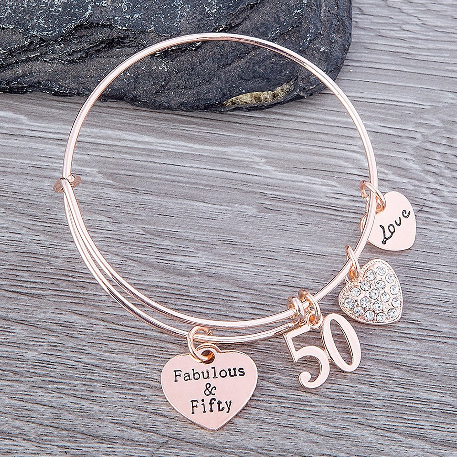 50th Birthday Gifts for Women 50th Birthday Expandable Charm Bracelet Fabulous and Fifty Bracelet & 50th Birthday Gifts for Women 50th Birthday Expandable Charm ...