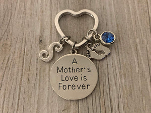 Personalized Mom Keychain with Initial Charm, Custom A Mother's Love is Forever- Son Charm Keychain Makes the Perfect New Mom Gift, Baby Shower Gift or Baby Gift - Infinity Collection