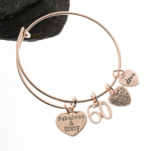 Infinity Collection 60th Birthday Gifts for Women, 60th Birthday Charm Bangle Bracelet