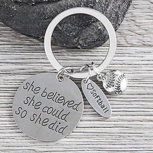 Softball Keychain - She Believed She Could So She Did - Infinity Collection