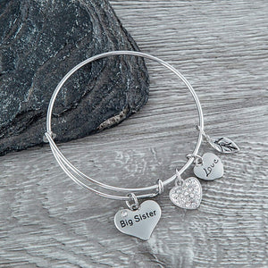 Big Sister Bangle Bracelet- Sister Jewelry- Big Sister Charm Bangle Bracelet, Big Sister Gifts for Women - Infinity Collection