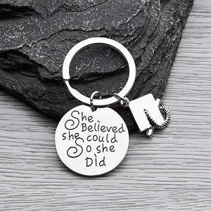 Infinity Collection Graduation Keychain for Girls, She Believed She Could So She Did Graduation Gift, Perfect Gift for Graduates, Class of 2018 Edition