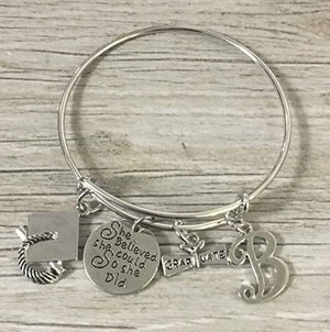 Personalized Graduation Bangle Bracelet with Letter Charm - Infinity Collection