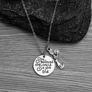 Cheer She Believed She Could So She Did Necklace - Infinity Collection