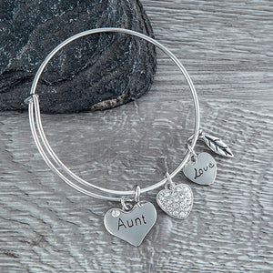 Aunt Bangle Bracelet- Aunt Jewelry- Bracelets for Aunts- Perfect Gift for Special Aunt - Infinity Collection