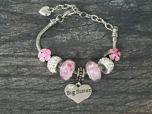 Big Sister Bracelet -Girls Pink Sister Jewelry - Infinity Collection