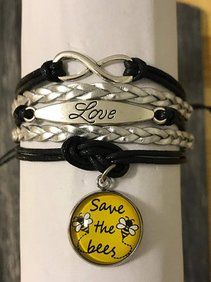 Save The Bees Bracelet, Help Save The Honeybees Awareness Jewelry, Save The Planet Charm Bangle Bracelet for Women and Girls - Infinity Collection