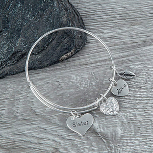 Sister Bangle Bracelet- Sister Jewelry- Perfect Gift for Sisters - Infinity Collection