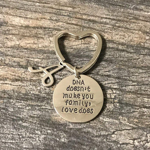 Personalized DNA Doesn't Make You Family Love Does Keychain, Custom Unisex Step Parent, Step Child, Friend Gift - Infinity Collection