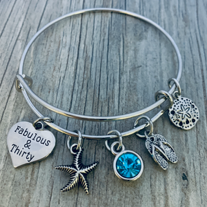 30th Birthday Beach Charm Bracelet, Women's Fabulous & Thirty Jewelry Gift - Infinity Collection