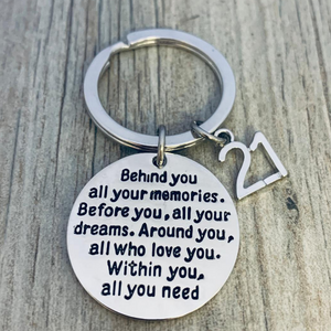 21st Birthday Keychain, Inspirational Twenty First Birthday Jewelry Birthday Gift for Women - Infinity Collection