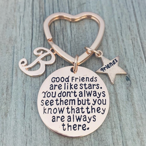 Personalized Best Friends Charm Keychain with Letter Initial- Rose Gold Custom Good Friends are Like Stars Key chain- Friend Jewelry for Women- Perfect Gift for Her - Infinity Collection