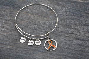 Orange Ribbon Bracelet, Leukemia Awareness, MS Awareness, Self Injury, Kidney Cancer, ADHD, Awareness Jewelry