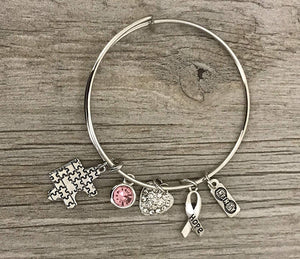 Personalized Autism Bangle Bracelet with Birthstone Charm
