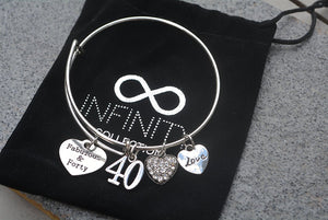 40th Birthday Gifts for Women, 40th Birthday Expandable Charm Bracelet, 40th Birthday Ideas, Gift for Her - Infinity Collection