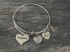 Daughter Bangle Bracelet- Daughter Jewelry- Perfect Gift for Daughters - Infinity Collection