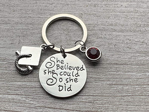 Personalized Graduation Keychain with Birthstone Charms, Custom Graduation Gift - Infinity Collection