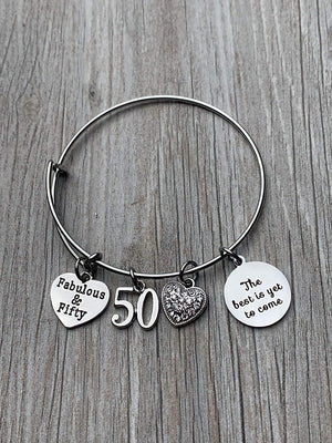 Fabulous and 50 Birthday Bangle Gifts for Women,The Best is Yet To Come 50th Birthday Expandable Charm Bracelet - Infinity Collection