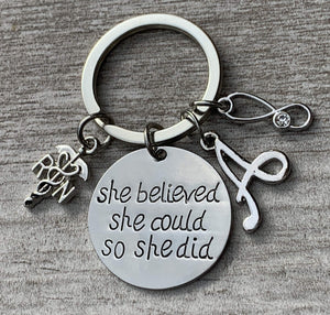 Personalized Nurse She Believed She Could So She Did Keychain - Infinity Collection
