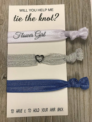 Blue Flower Girl Hair Ties, Will You Help Me Tie The Knot, Flower Girl Gift, Bridesmaid Jewelry Accessory-Makes the Perfect Personalized Gift For Flower Girls - Infinity Collection