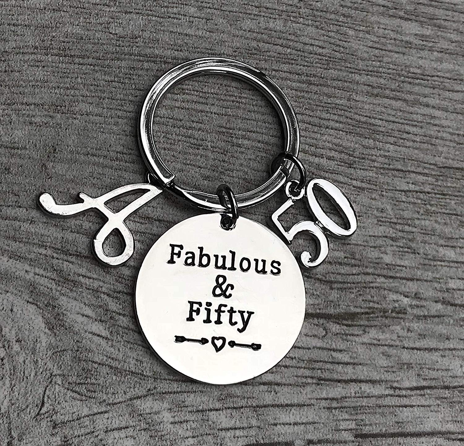 Personalized 50th Birthday Keychain With Letter Charm Gifts For Men Women Fabulous And Fifty Bday Him Or Her