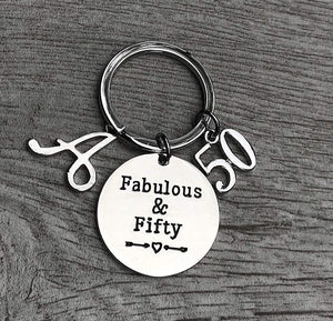 Personalized 50th Birthday Keychain with Letter Charm - Infinity Collection