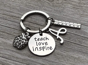 Custom Teacher Keychain, Teach Love Inspire Jewelry, Teacher Gift - Show Your Teacher Appreciation - Infinity Collection